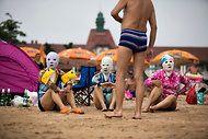 Beach Essentials in China: Flip-Flops, a Towel and a Ski Mask