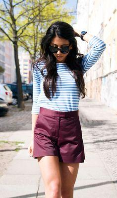 Schwarzes seidges Haar zu hochgeschnittenen, burgunderfarbenen Shorts und Streifenshirt - zu Ostern darf es auch mal casual sein und trotzdem chique! #ostern #inspiration #familienzeit