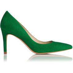 L.K. Bennett Floret Green Suede Court (€165) ❤ liked on Polyvore featuring shoes, pumps, heels, pointed toe pumps, l.k. bennett shoes, green shoes, green high heel shoes and suede pumps
