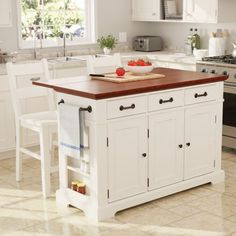 OSP Home Furnishings Country Kitchen Large Kitchen Island in White Finish with Vintage Oak Top - The Home Depot Drop Leaf Kitchen Island, Country Kitchen Island, Large Kitchen Island, Country Kitchen Designs, French Country Kitchens, Kitchen Islands, Mobile Kitchen Island, Design Kitchen, New Kitchen