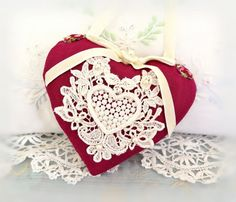 Heart Ornament 5 in. Door Hanger Heart Home by CharlotteStyle Valentines Day Pictures, Valentine Day Gifts, Heart Ornament, Flower Applique, Velvet Ribbon, Soft Sculpture, Easter Gift, Hang Tags, Fabric Decor