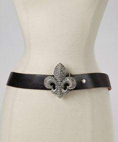 Black & Silver Fleur-de-Lis Belt