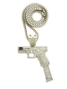 "ICED OUT HIP HOP GUN PENDANT & 24"" VARIOUS CHAINS"