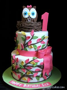owl first birthday cake - Google Search
