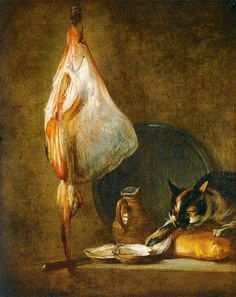 CHARDIN, Jean-Baptiste-Siméon Still-Life with Cat and Rayfish c. 1728 Oil on canvas, 80 x 63 cm Museo Thyssen-Bornemisza, Madrid Gato Calico, Calico Cats, Cats Wallpaper, Jean Baptiste, Art Database, Cat Facts, Art Uk, Beautiful Cats, Cool Cats