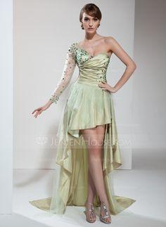 Prom Dresses - $144.99 - A-Line/Princess One-Shoulder Asymmetrical Taffeta Tulle Prom Dress With Ruffle Beading (018021099) http://jenjenhouse.com/A-Line-Princess-One-Shoulder-Asymmetrical-Taffeta-Tulle-Prom-Dress-With-Ruffle-Beading-018021099-g21099