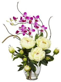 Peony and Orchid Silk Flower Arrangement - contemporary - Artificial Flower Arrangements - ivgStores
