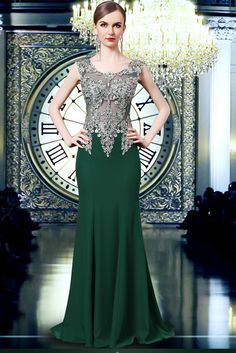 cee6da8e76 Fitted Scoop Neck See Through Tulle Dark Green Chiffon Applique Evening  Prom Dress