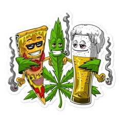 Cannabis, Marijuana Art, Dope Cartoons, Dope Cartoon Art, Stück Pizza, Weed Stickers, Arte Alien, Stoner Art, Weed Art
