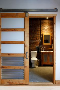 When was the last time you took a really close look at the doors in your house? Most of us tend to think only about the functionality of doors, and while Eclectic Bathroom, Bathroom Styling, Bathroom Interior, Interior Doors, Chic Bathrooms, Modern Bathroom, Small Bathroom, Rustic Bathrooms, Minimalist Bathroom