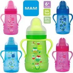 MAM Baby Trainer Bottle Cup With Spout  Handle 7oz OWLS Pink or Blue by MAM, http://www.amazon.com/dp/B008EISPRA/ref=cm_sw_r_pi_dp_uaeSqb1361F0M