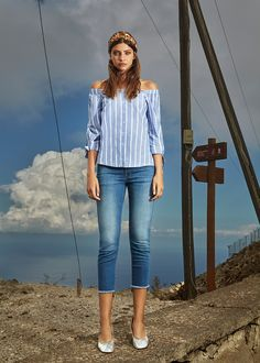 #esprit #spring17 #lookbook with @meliniiimartin #offshoulder #blouse #stripes #skinnyfit #denim
