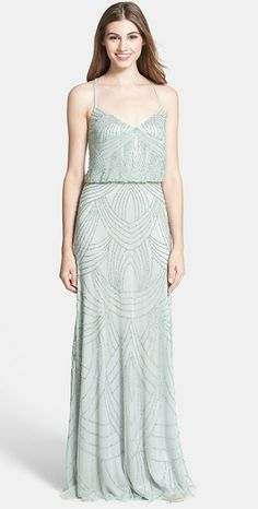 Mint Adrianna Papell Embellished Blouson Dress