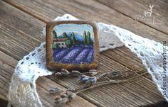 """Брошь деревянная с ручной росписью """"Прованс"""" - сиреневый,брошь,брошь купить brooch handmade handpainting brooches design lavander provence lilac buy"""