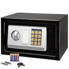 "12""x8"" Electronic Black Safe Box Digital Security Keypad Lock Office Home Hotel"