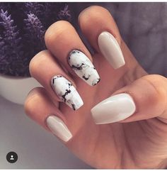 Marble and white coffin nails
