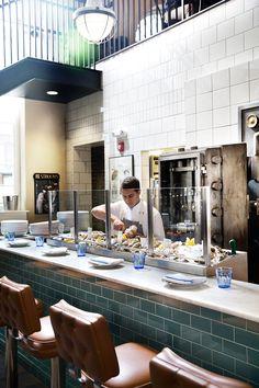 The Ordinary Oyster Hall - Charleston, SC Restaurant Concept, Restaurant Design, Cafe Design, Interior Design, Architecture Restaurant, Fish And Chip Shop, The Fish Market, Bar Displays, Counter Design