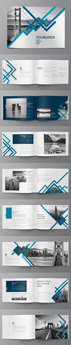 24 Pages Blue Stripes Brochure Template:
