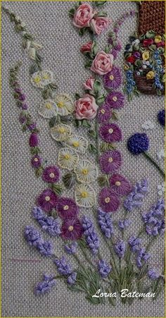 Ribbon Embroidery Flowers by Hand - Embroidery Patterns Simple Embroidery, Hand Embroidery Stitches, Silk Ribbon Embroidery, Crewel Embroidery, Hand Embroidery Designs, Embroidery Techniques, Embroidery Kits, Cross Stitch Embroidery, Embroidery Supplies
