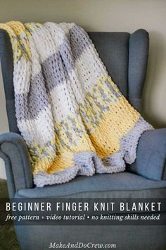 """Made with Lion Brand Off the Hook loop yarn and a very simple technique, this finger knitting blanket is a breeze to """"knit,"""" even for absolute beginners. Perfect size couch throw or baby blanket."""