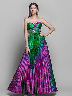 A-line Sweetheart Floor-length Print Satin Evening Dress