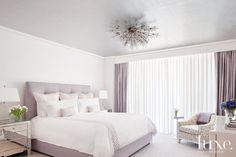 Contemporary White Bedroom with  Swarovski Crystal Starburst Chandelier
