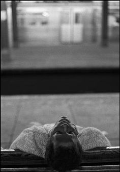FERDINANDO SCIANNA, New York City, Man sleeping in the subway. 1991