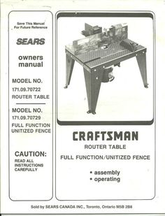 Craftsman Router Double Insulated 1 5 Hp 25000 Rpm Model 315 175000 Made In The Usa Tools Pinterest