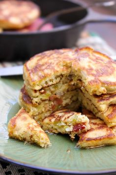 Savory Hatch Chile and Candied Bacon Pancakes