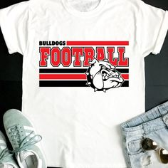 Bulldogs SVG, Football SVG, Bulldogs Football T-shirt Design, Bulldogs Team Spirit, Cricut Cut Files Football Tshirt Designs, School Tshirt Designs, Football Mom Shirts, Cheer Shirts, Dad To Be Shirts, Sports Shirts, Team T Shirts, Bulldogs Team, Bulldogs Football