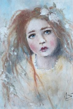 original girl child floral realism portrait painting  by fadedwest, sammy jo