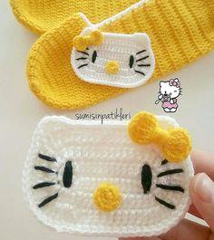 Best 12 🌸🍃🌸 Crocheted baby girl's Hello Kitty booties – Page 401172279301995871 – SkillOfKing.Com - Her Crochet Crochet Applique Patterns Free, Crochet Slipper Pattern, Crochet Slippers, Baby Knitting Patterns, Crochet Motif, Crochet Designs, Bunny Slippers, Crochet Baby Bibs, Crochet Mask