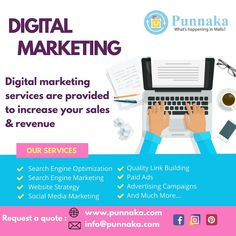 Digital marketing services are provided to increase your sales & revenue Our Services Search Engine Optimization Search Engine Marketing Website Strategy Social Media Marketing Quality Link Building Paid Ads Advertising Campaigns And Much More... For a free quote please visit www.punnaka.com/our-services