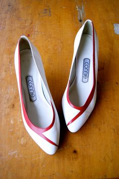 1980s Red and White Leather Kitten Heels by RevivalVintageAustin, $16.50