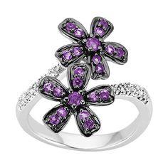 Amethyst and Diamond Flower Ring in 10K White Gold