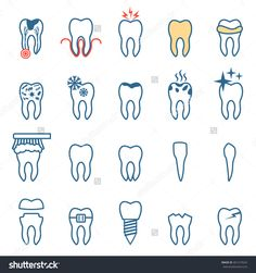 tooth disease, vector dentist set , teeth icons