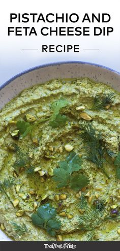 A fine paste of pistachios, garlic and oil is brightened with fresh cilantro and dill before getting blended with feta and yogurt for the perfect tang. Just make sure you have plenty of pita on hand. Cheese Dip Recipes, Appetizer Recipes, Snack Recipes, Appetizers, Picnic Recipes, Feta Dip, Feta Salad, Feta Pasta, Whipped Feta
