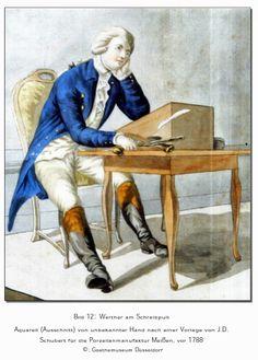 Een aquarel van Werther aan zijn schrijftafel