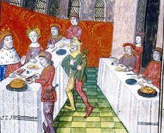 Les festins   Roman de Lancelot en prose, France, XVe siècle   Paris, BnF, Département des manuscrits, Français 112 fol. 45.  clear illustration of a pie
