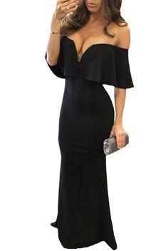 Black Ruffle Off Shoulder Maxi Party Dress