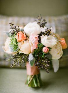Rustic pastel peach wedding bouquet.