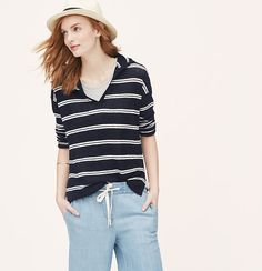 Cast in drapey-light linen, this striped knit is endlessly easygoing. Hooded. V-neck. Long sleeves. Drop shoulders. Ribbed neckline and hem. Side slits.