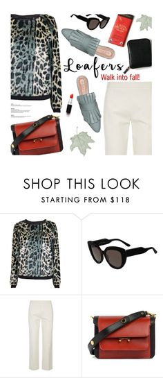 """walk into fall!"" by magdafunk ❤ liked on Polyvore featuring Maison Scotch, Marni, The Row, loafers, LeopardPrint and whitepants"