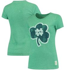 Notre Dame Fighting Irish Original Retro Brand Women's Tri-Blend Crew Neck T-Shirt - Heathered Kelly Green