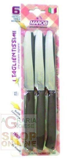 MARIETTI COLTELLI DA TAVOLA DENTATI PUNTA TONDA COLORE MARRONE PZ. 6 http://www.decariashop.it/coltelleria-da-cucina/9690-marietti-coltelli-da-tavola-dentati-punta-tonda-colore-marrone-pz-6.html