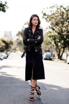 leather jacket and black midi skirt | Harper and Harley