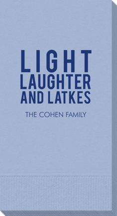 Personalized Light Laughter And Latkes Guest Towels