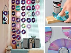 Diy easy room decor bedroom awesome room decor room decor decor curtain with video cassette diy . diy easy room decor genius home decor ideas Cd Crafts, Crafts For Teens, Easy Crafts, Diy And Crafts, Room Crafts, Crafts With Cds, Handmade Crafts, Decor Crafts, Cd Diy