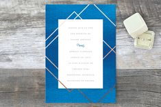 """Watercolor Union"" - Modern Wedding Invitations in Aqua by Genna Cowsert."