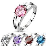 So In Love – Aqua, red, purple, white or pink solitaire cubic zirconia ring in stainless steel